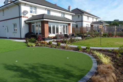 After: the new tee, lawn and patio