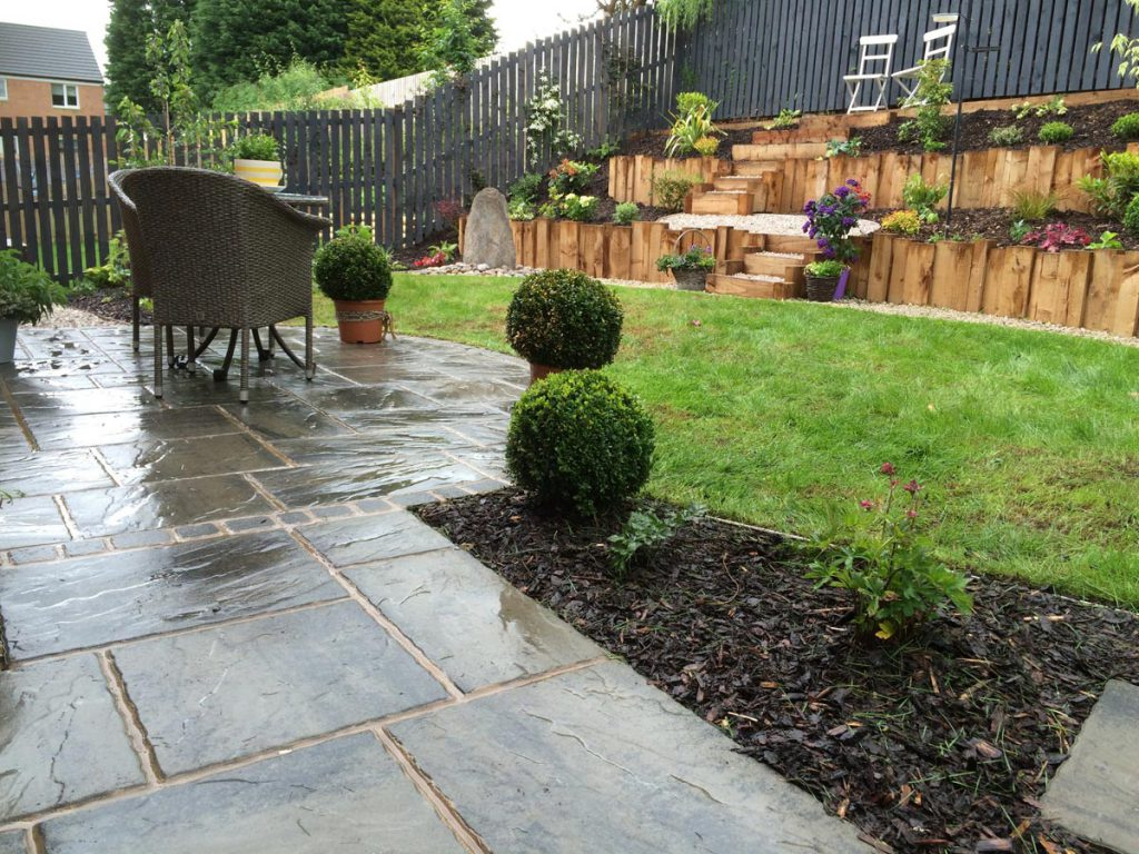 After: patio and terracing transforms the garden