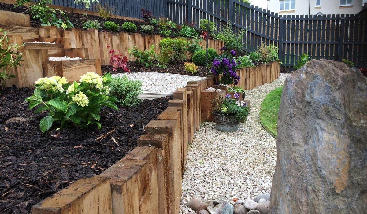 A terraced garden in Lanarkshire