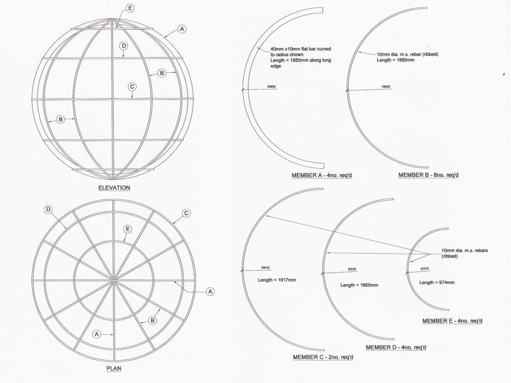 Construction drawings for the globe