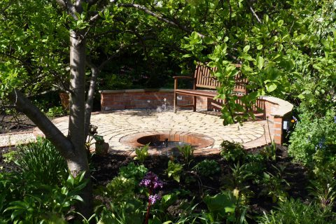 The new patio and water feature