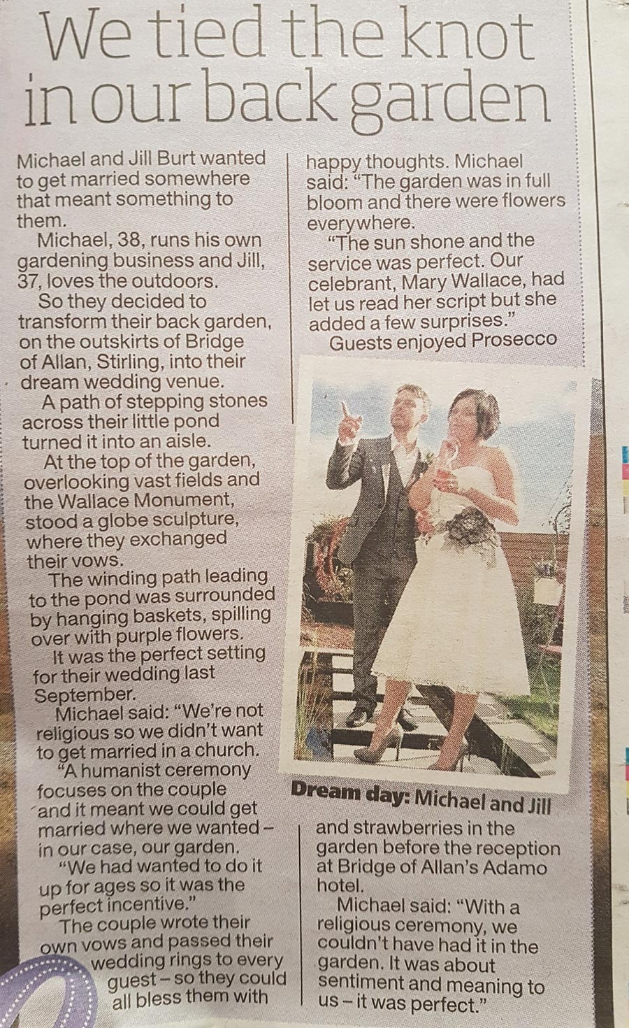 Sunday Mail humanist's weddings