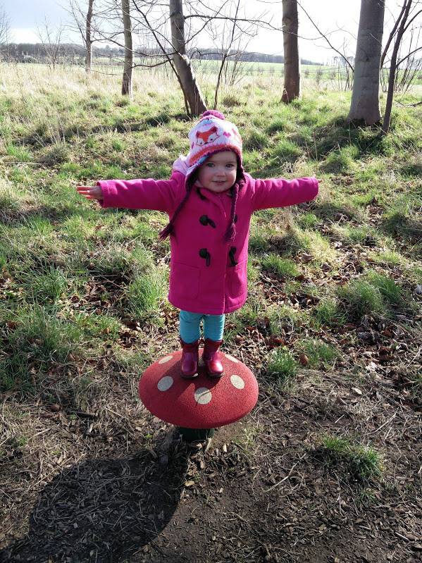 Tilda balancing on a toadstool