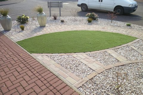 Artificial grass adds green to the garden