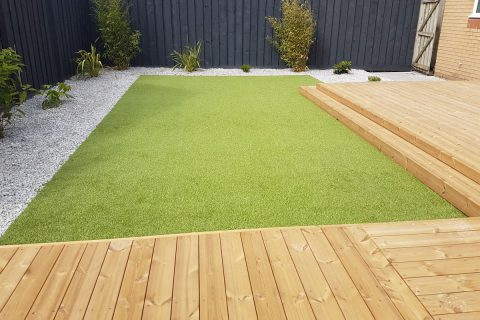 The artificial grass provides perfect lawn all year round