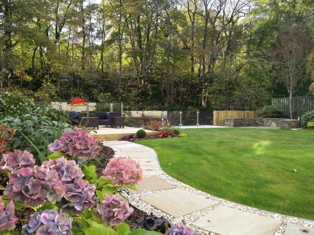 The riverside garden after
