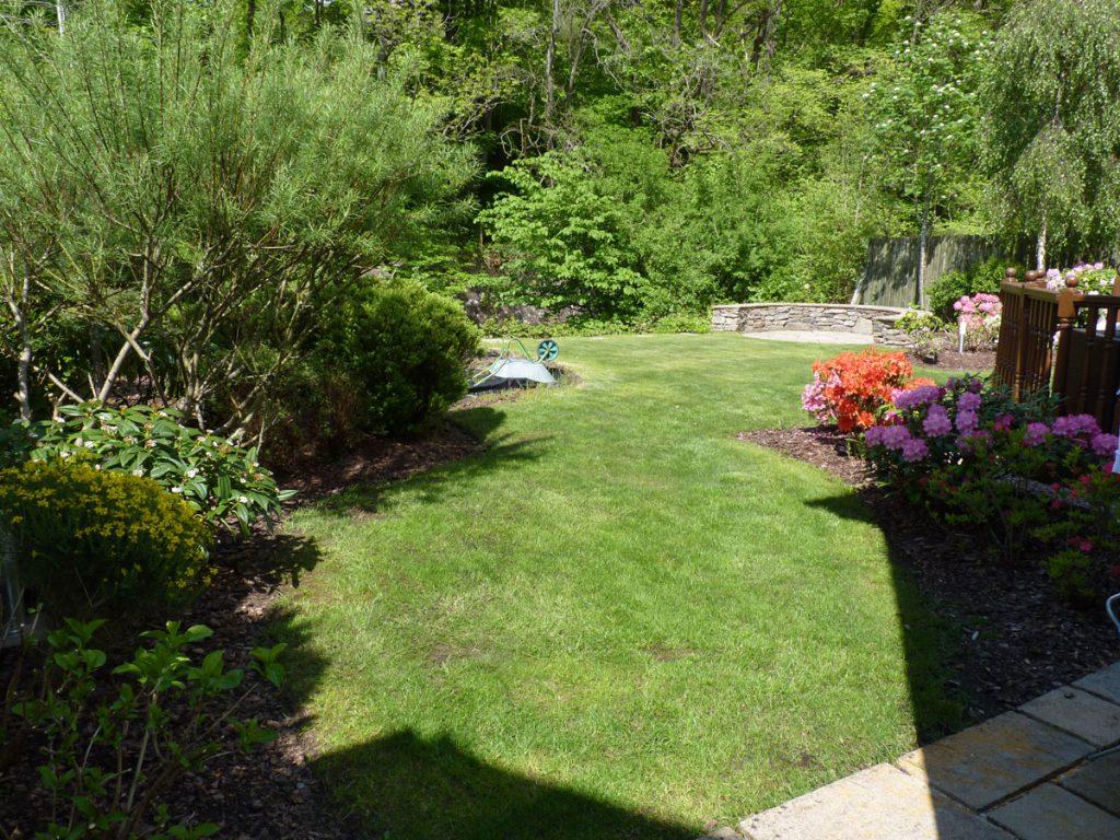 The riverside garden before