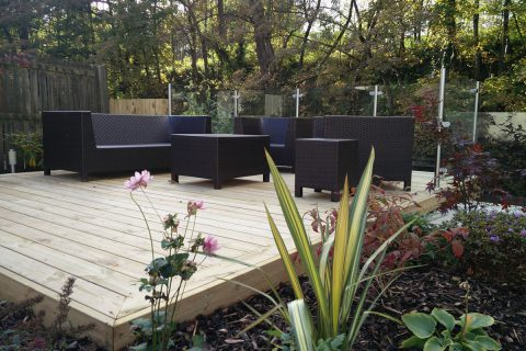 Planting surrounds the new deck