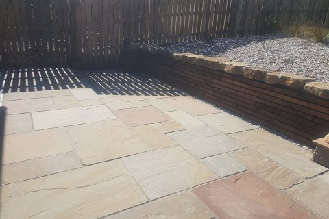 The new lower sandstone patio