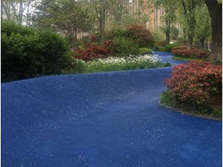 This is our favourite! How cool is this blue path, like a wave through the garden!
