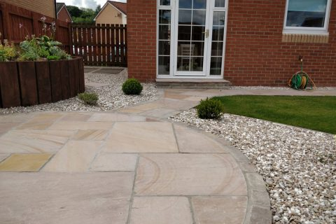 The new golden sandstone patio