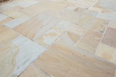 """Harvest"" sandstone paving creates a warm feel to gardens"
