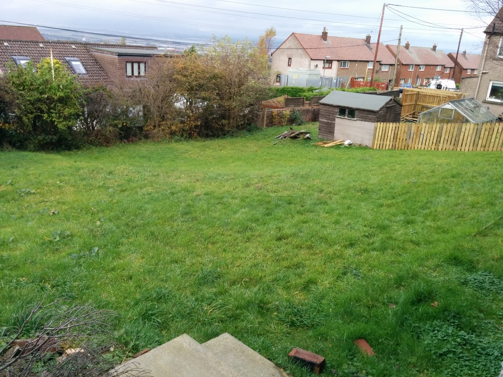 The sloping garden before