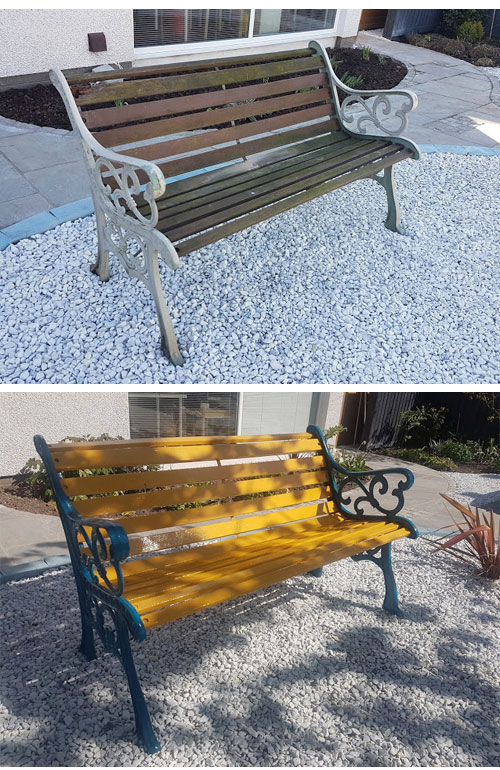 The before and after shots of our bench