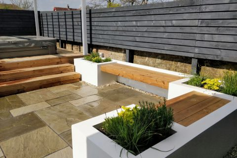 The new raised beds and in-built seating