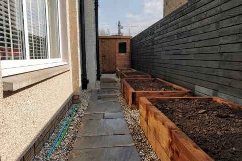 Raised beds provide ample space for growing fruit & veg