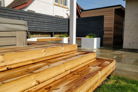 Steps leading up to the new raised decking