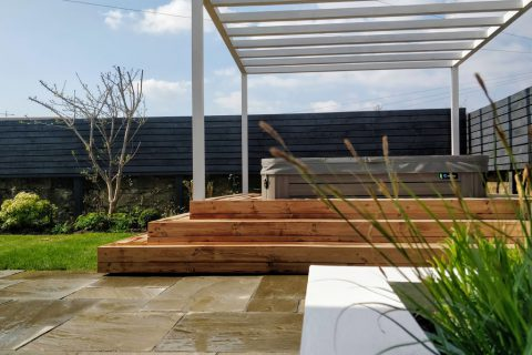 The hot tub and pergola are the central feature of the new garden