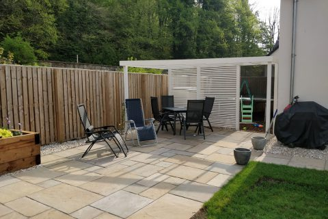 The new pergola provides shade as well as being a lovely feature