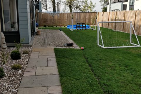 Sloping paths give access to the garden