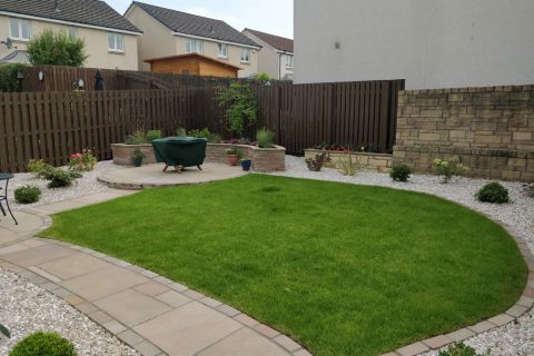 View across the garden to the new main patio