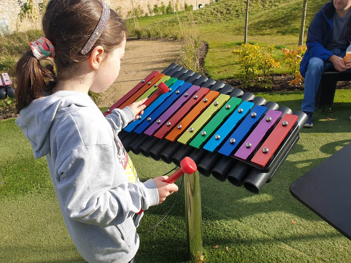 Colour coded xylophones with sheet music encouraged children to play their own tunes
