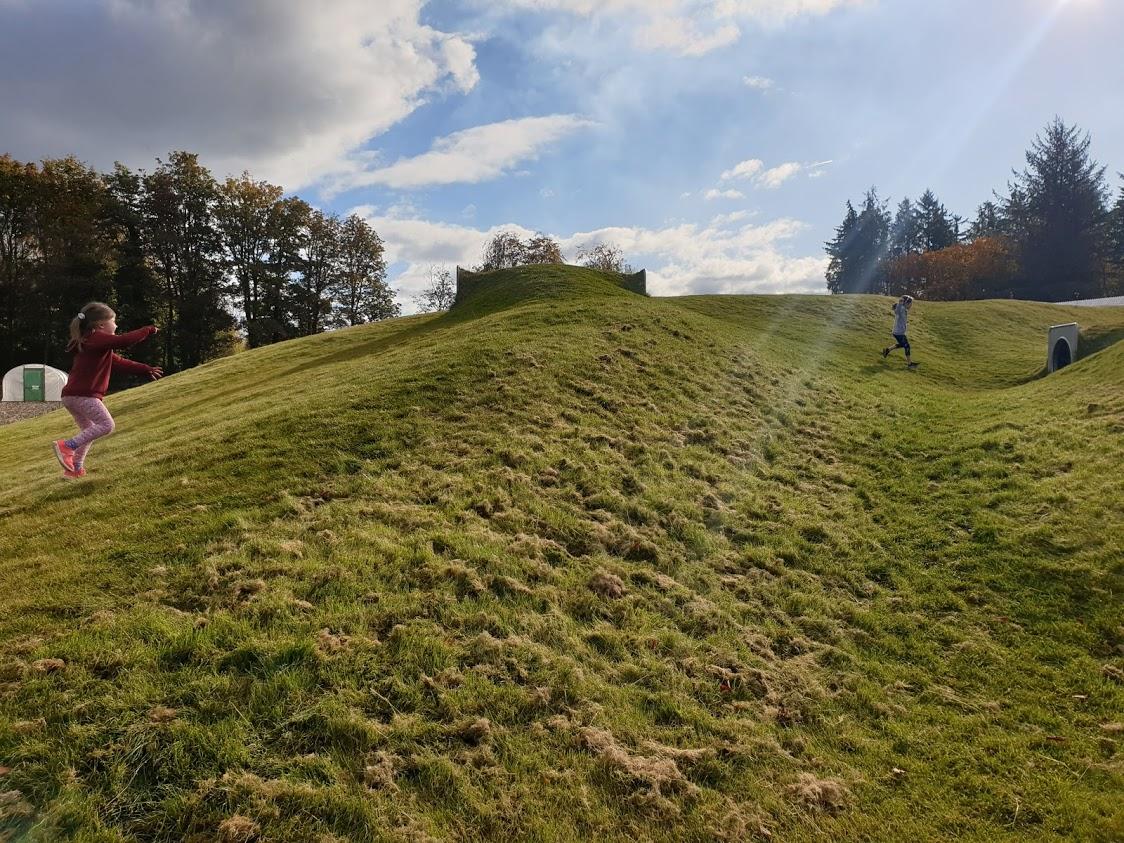 The mounds reminded us of Charles Jencks landforms