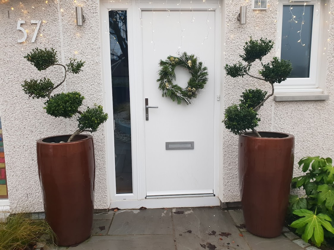 Tall copper pots with cloud topiary creates a strong look