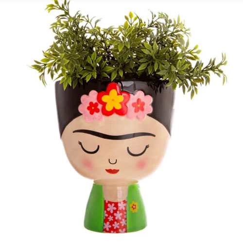 A Frida Kahlo planter is a cute way to grow plants