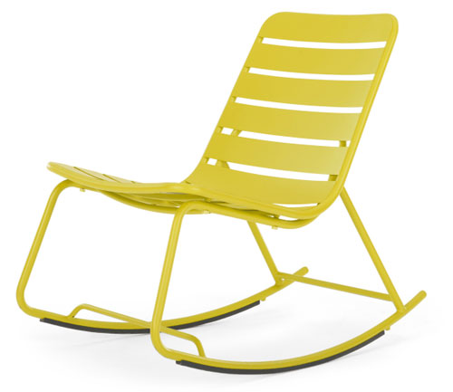 This contemporary garden rocking chair is the perfect place to relax