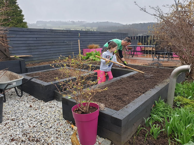 Add compost and manure to your veg beds, dig it in and then rake over in readiness for sowing.