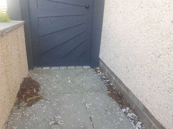 Clear away leaves, stones and debris from those annoying corners where things get blown