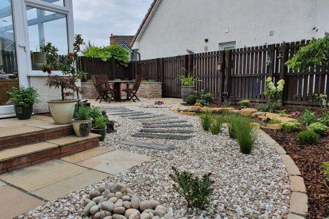View across the new garden