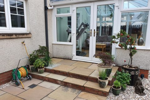 New steps from the conservatory match in with the rest of the garden