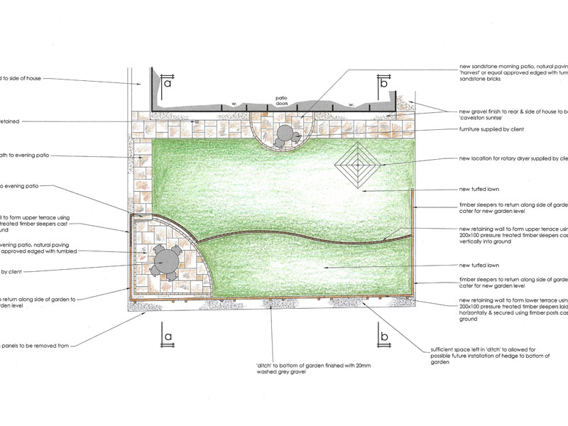 Our design for the terraced garden makeover