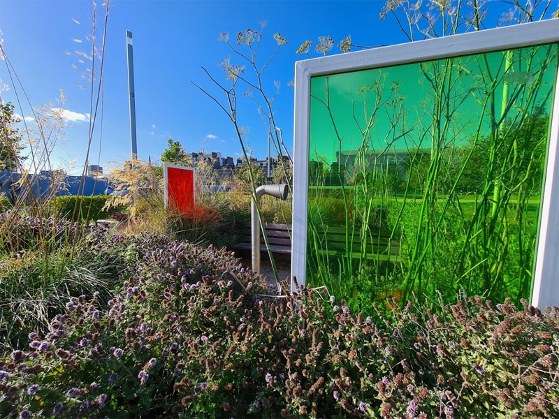 The sensory garden was filled with colourful acrylic panels, interactive sounds and sensory planting.