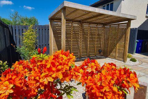 View through the azalea to the garden room