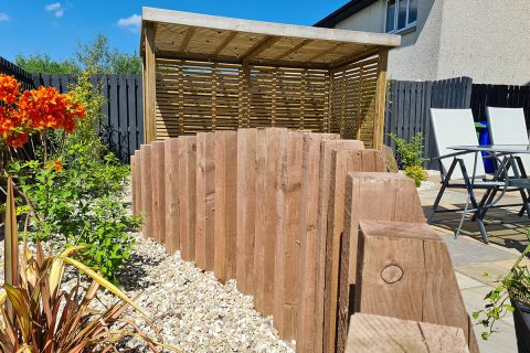 The timber sleepers add interest to the border