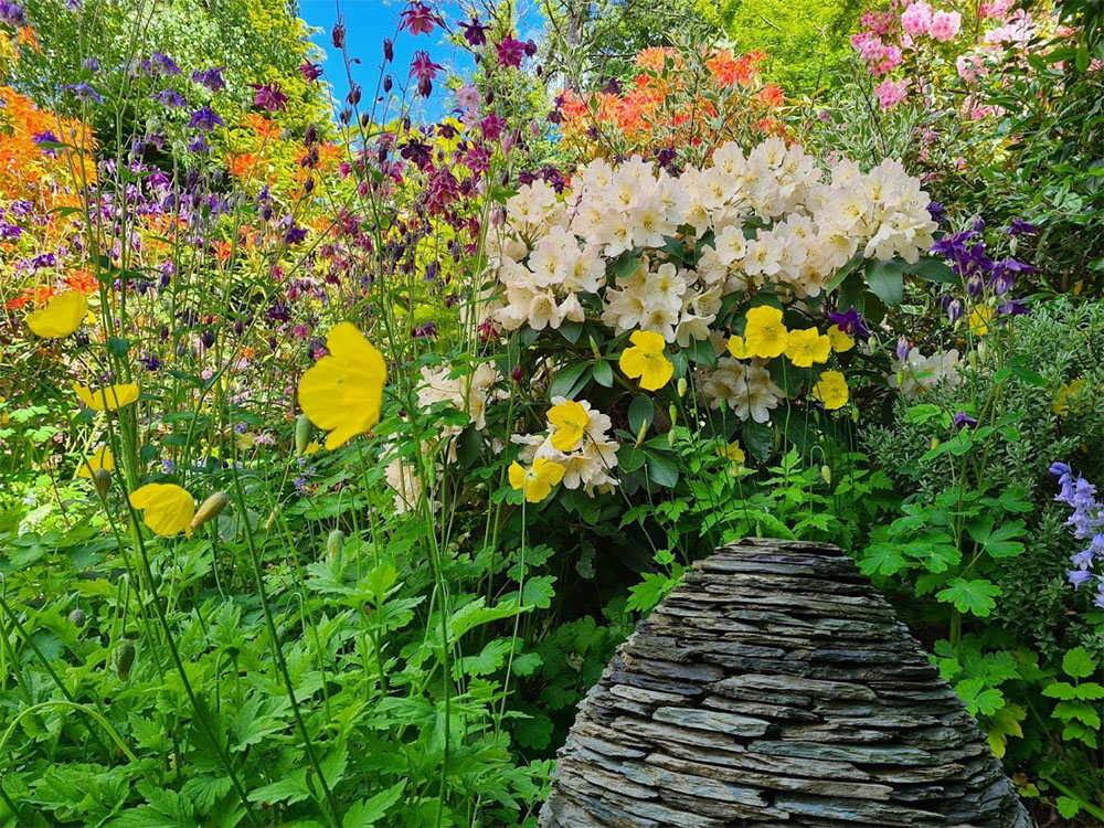 This garden was full of bloom & slate sculpture